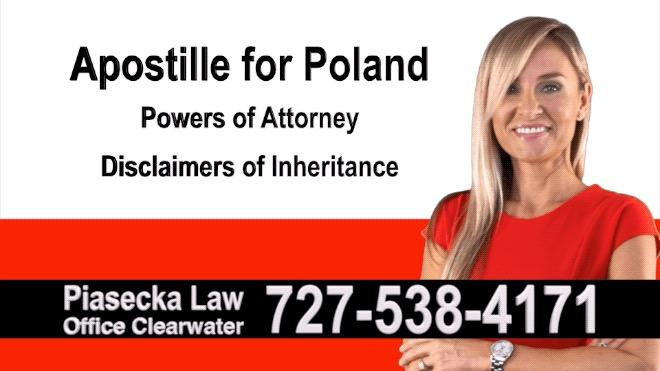 Belleair Beach Apostille, Notary, Polish, Polski, Notariusz, Pełnomocnictwo, Power of Attorney, Agnieszka Piasecka, Aga Piasecka
